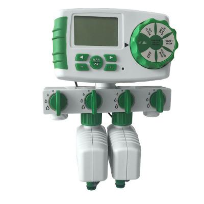 AQUALIN 10204A  электронный таймер подачи воды на четыре зоны с двумя электромагнитными клапанами