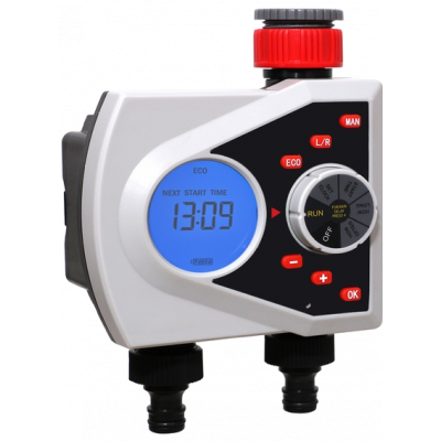 Электронный таймер автоматического полива с цифровым управлением и электромагнитными клапанами Aqualin 21076 на две зоны.