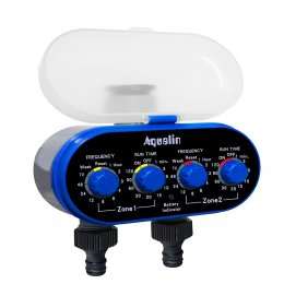 AQUALIN 21032 Таймер полива с шаровым клапаном на 2 зоны и механическим управлением